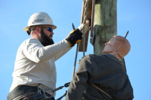 Linemen, Jay Henry, training for a pole top rescue